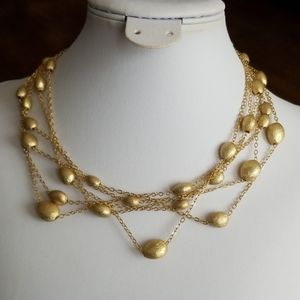Textured GOLD beads 6 strand necklace